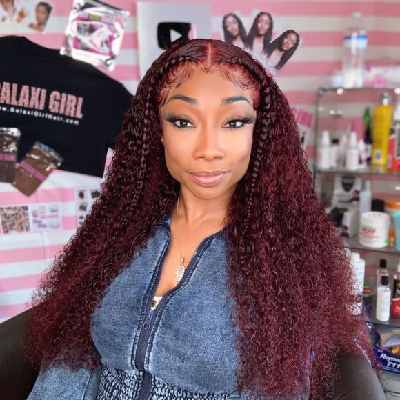 Burgundy Jerry Curly 99J Lace Frontal Wig