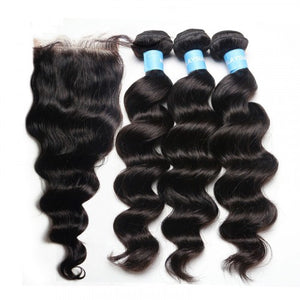3 Bundles Exotic Wave Hair with 4x4 Lace Closure a Lot - Estelle Wig