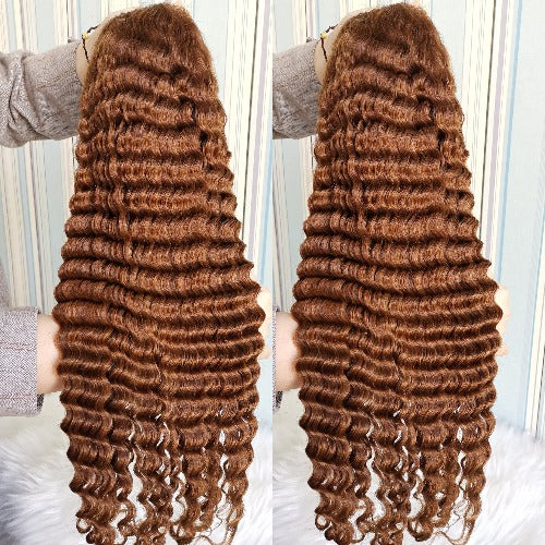 Deep Wave Honey Blonde #27 13x4 Transparent Lace Front Wigs Human Hair