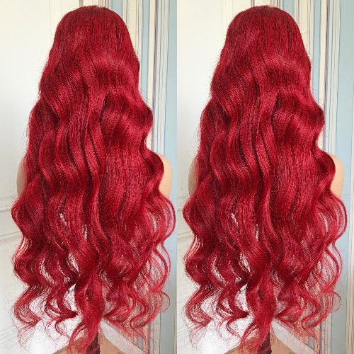Red Color Lace Frontal Wig Body wave