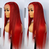 HD Transparent Red Color Lace Frontal Wig Straight