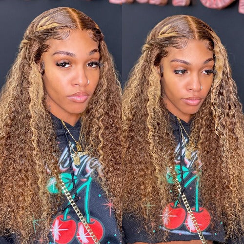 Piano Color Ombre Highlight Curly Transparent Lace Front Wigs Human Hair