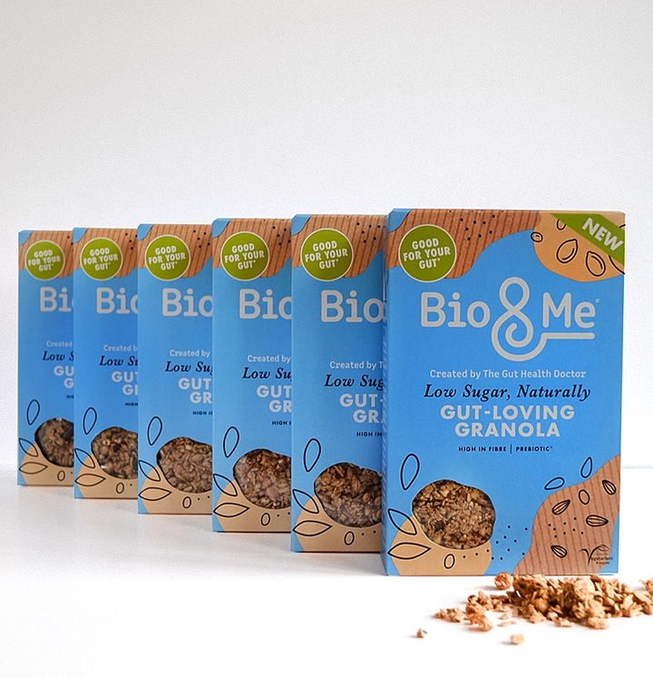 BIG VALUE 6-PACK OF Low Sugar, Naturally Gut-Loving Prebiotic* Granola (6 x 360g). Just £3.67 per Pack.