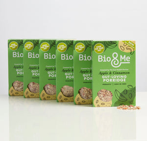 BIG VALUE 6-PACK OF APPLE & CINNAMON GUT-LOVING PREBIOTIC* PORRIDGE (6 x 450g). Just £3.67 per Pack.