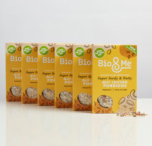 BIG VALUE 6-PACK OF SUPER SEEDY & NUTTY GUT-LOVING PREBIOTIC* PORRIDGE (6 x 450g).  Just £3.67 per Pack.