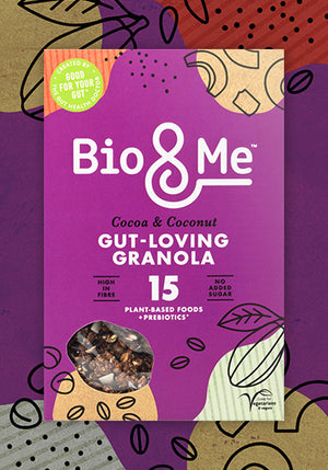BIG VALUE 6-PACK OF COCOA & COCONUT GUT-LOVING PREBIOTIC* GRANOLA (6 x 60g). Just £3.67 per Pack.