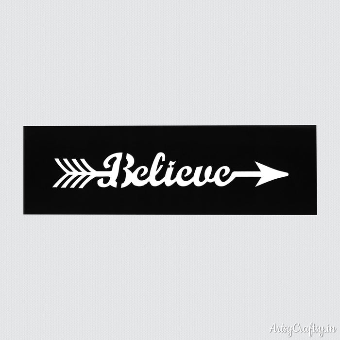 Believe Arrow Sentiments Stencil