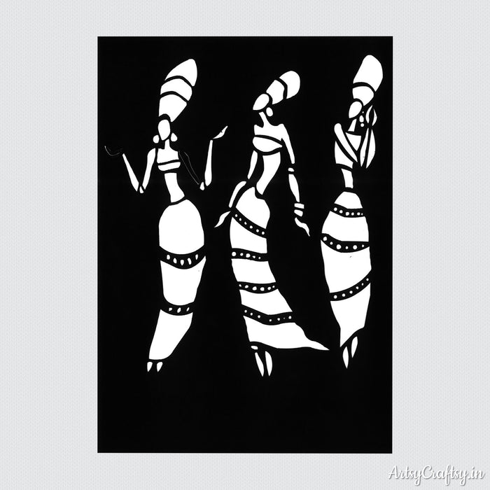 Tribal Dancers Decor Stencil