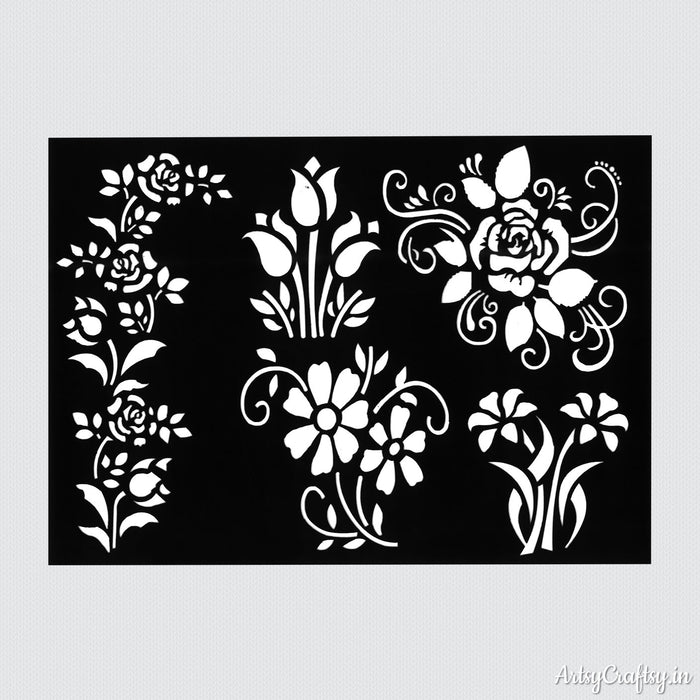 Rose Flower Border Stencil