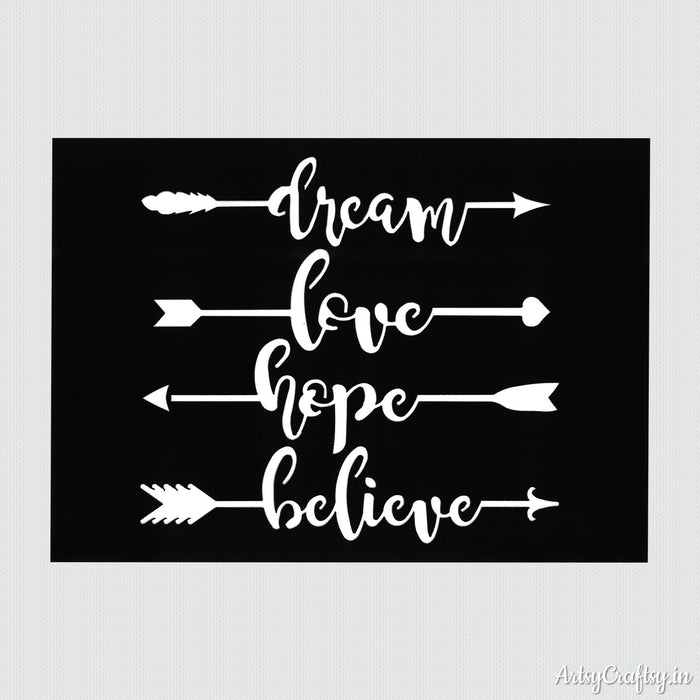 Dream, Love, Hope and Believe Sentiments Stencil
