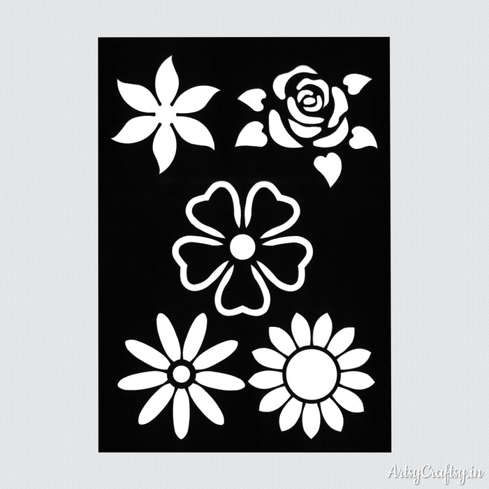 Five Flowers Decor Stencil