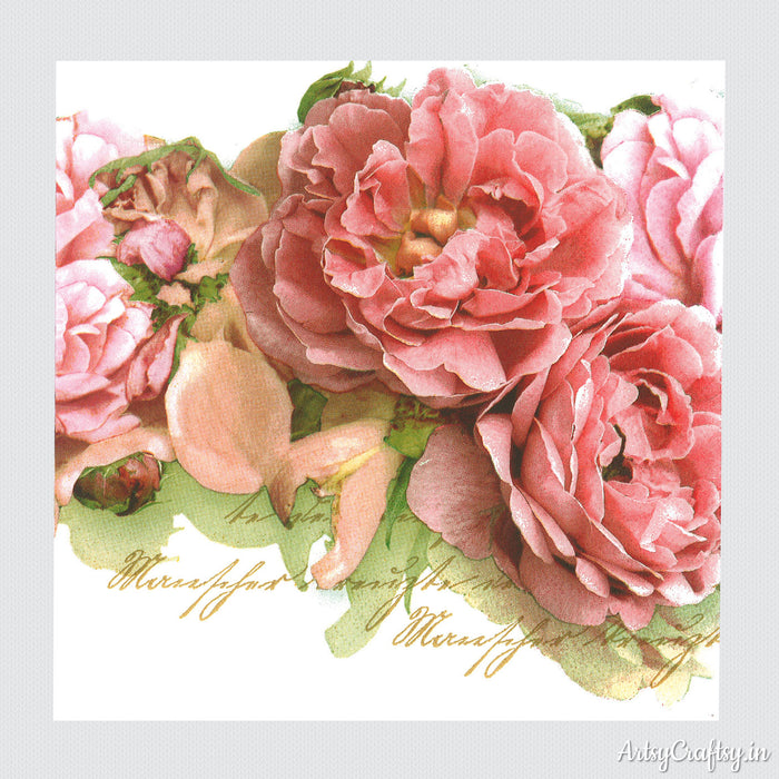Pink Rose Decoupage Tissues