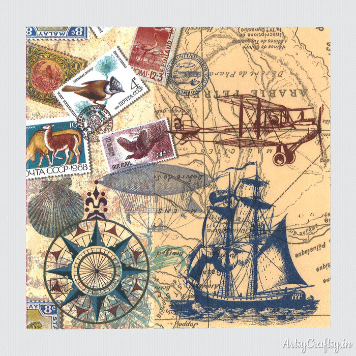 Vintage Ship and Stamp Design Decoupage Tissues