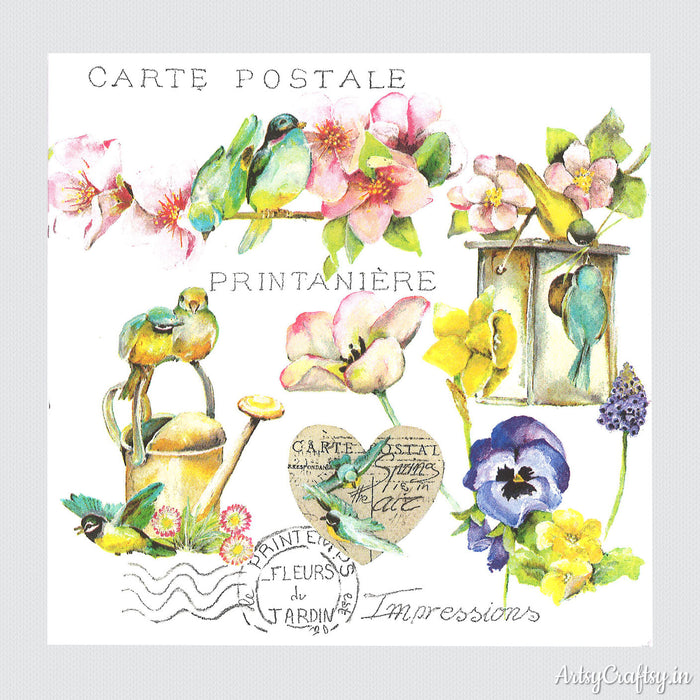 Spring Postcards Decoupage Tissues