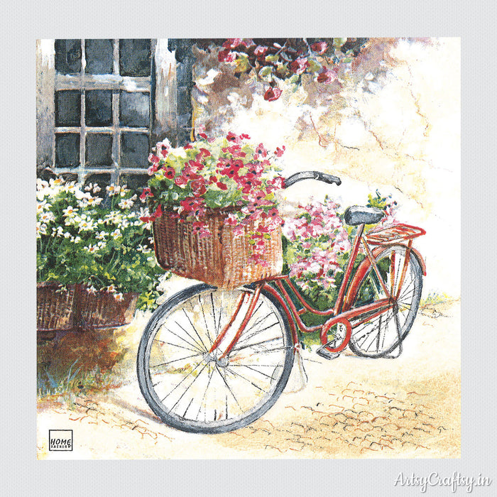 Red Bicycle and Flowers Basket Decoupage Tissue