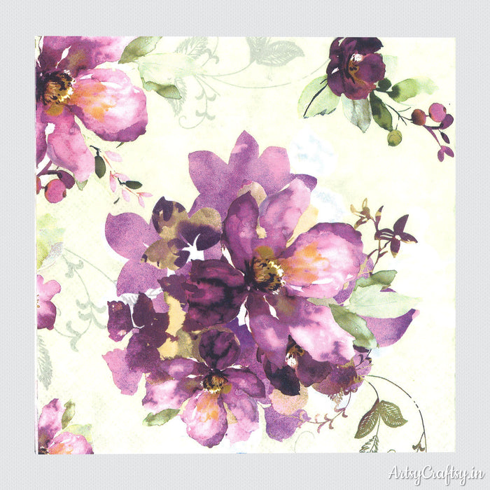 Purple Flowers in Watercolor Decoupage Tissue