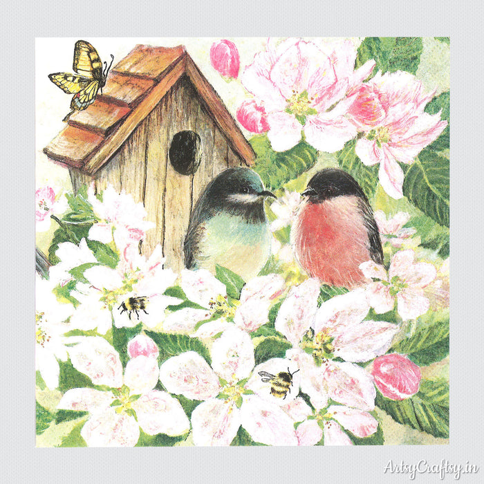 Bird House in Garden Decoupage Tissue