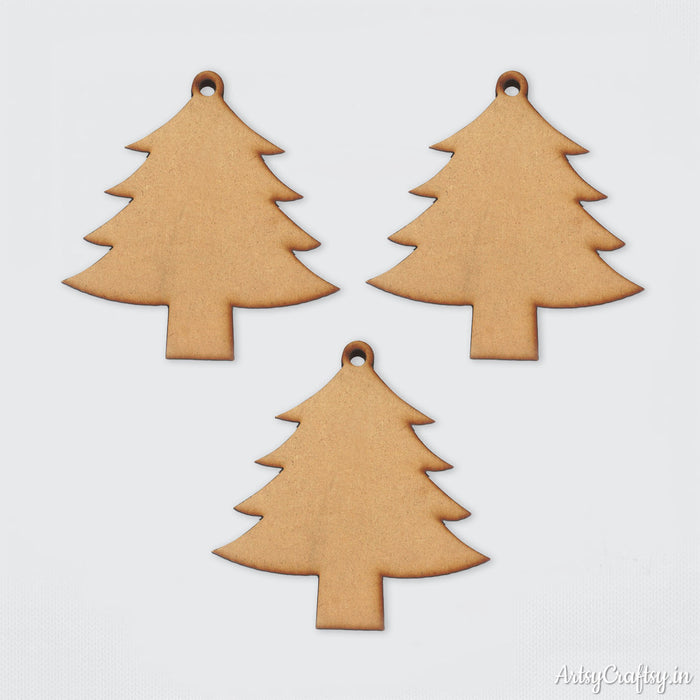 Christmas Tree MDF Embellishments (Set of 3)