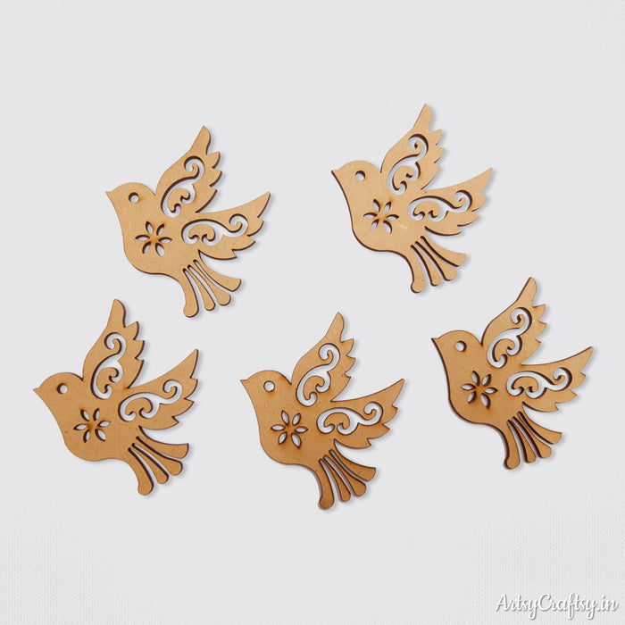 Flying Bird MDF Embellishments (Set of 5)