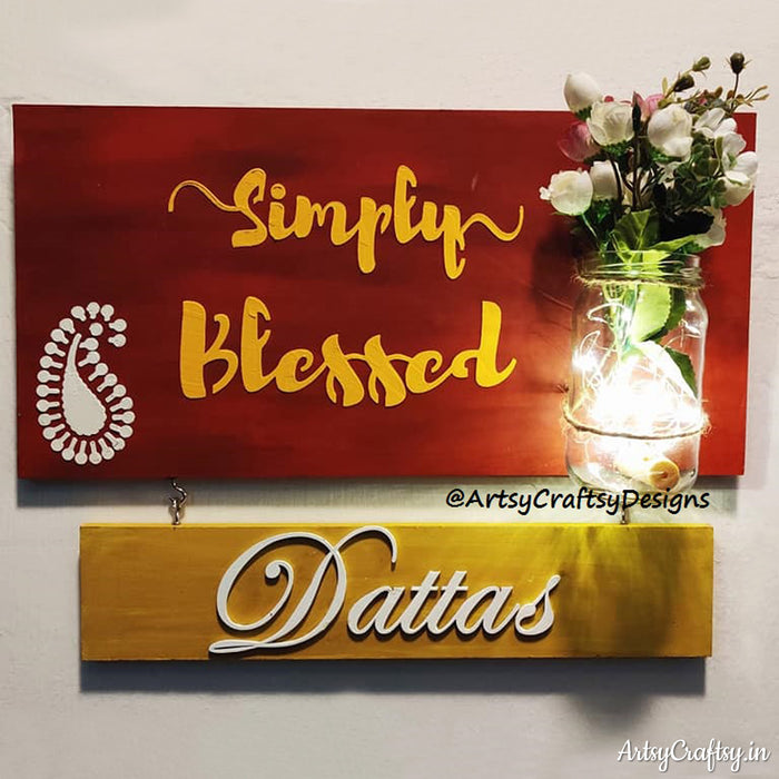 Simply Blessed with Jar Handcrafted Nameplate