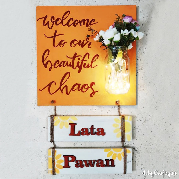 Welcome to Our Beautiful Chaos Handcrafted Nameplate