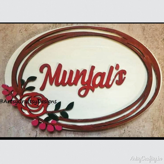 Handcrafted Floral Design Nameplate