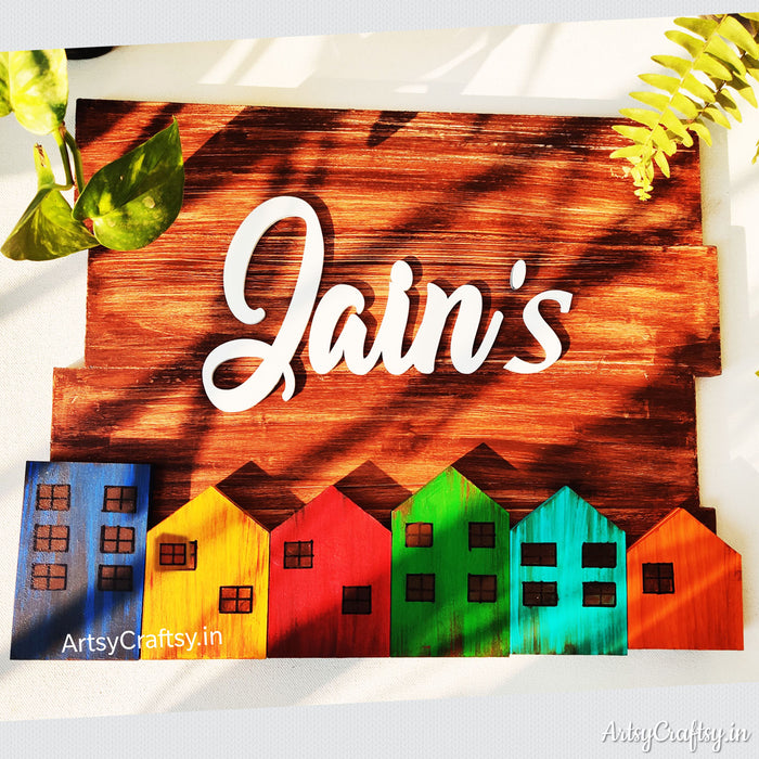 Handcrafted Colourful House Nameplate