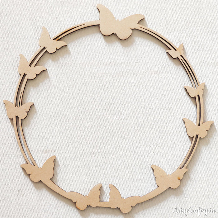 MDF Wreath base with butterfly cutout