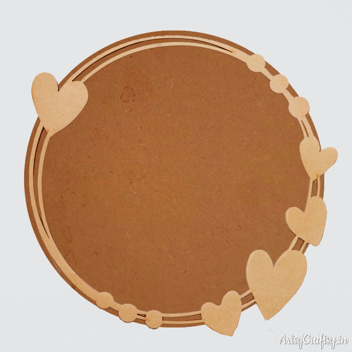 MDF Wreath base with heart cutout