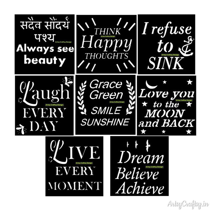 Sentiment Stencil Set (Set of 8 Pcs)