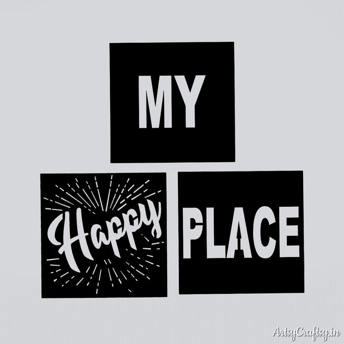 My happy place sentiment stencil Artsy Craftsy