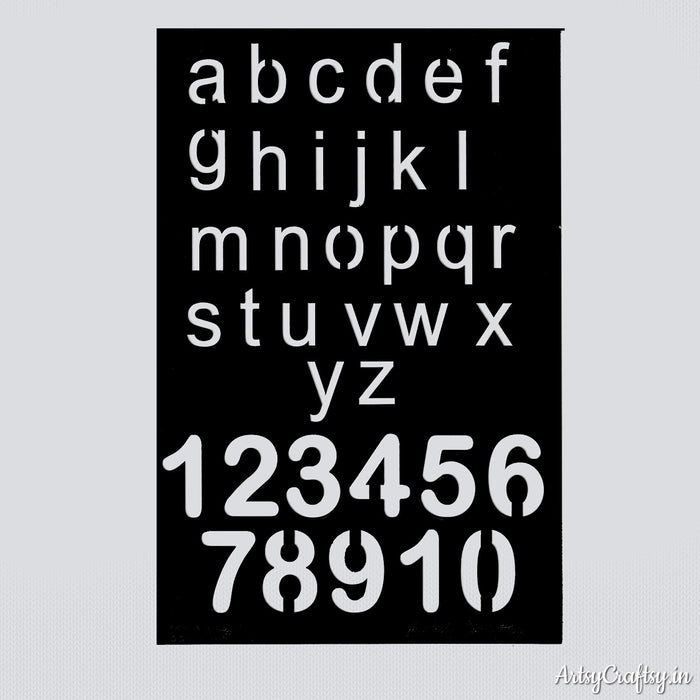Small Alphabet & Number Stencil
