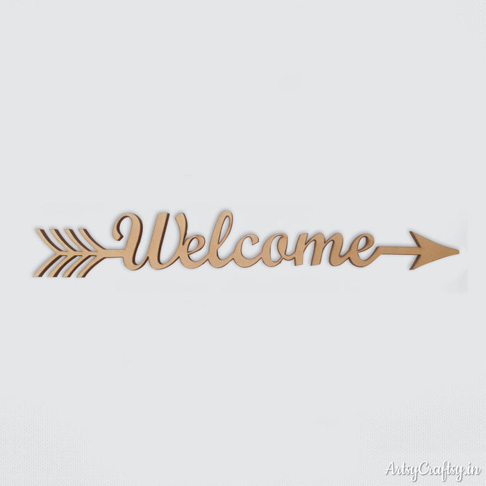 Welcome Arrow Word MDF Cutout