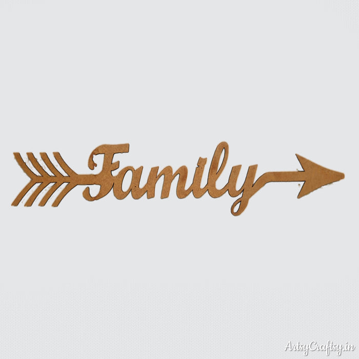 Family Arrow Word MDF Cutout