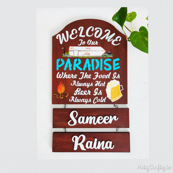 Welcome to Paradise Nameplate