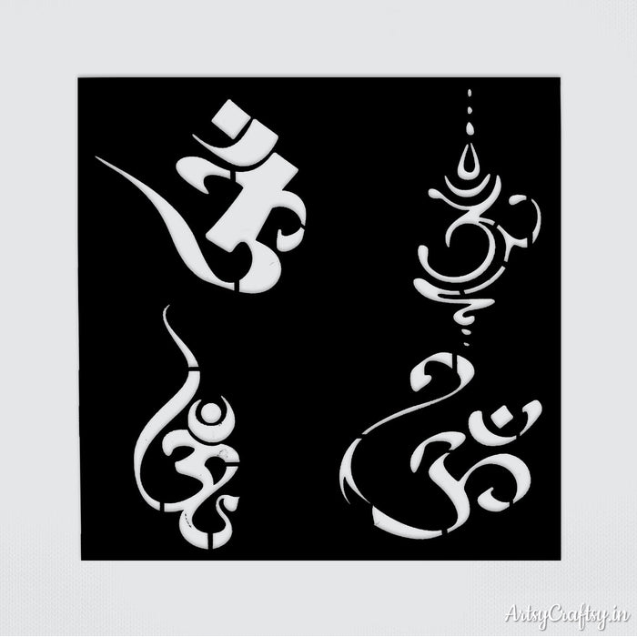 Om Different Sanskrit Stencil