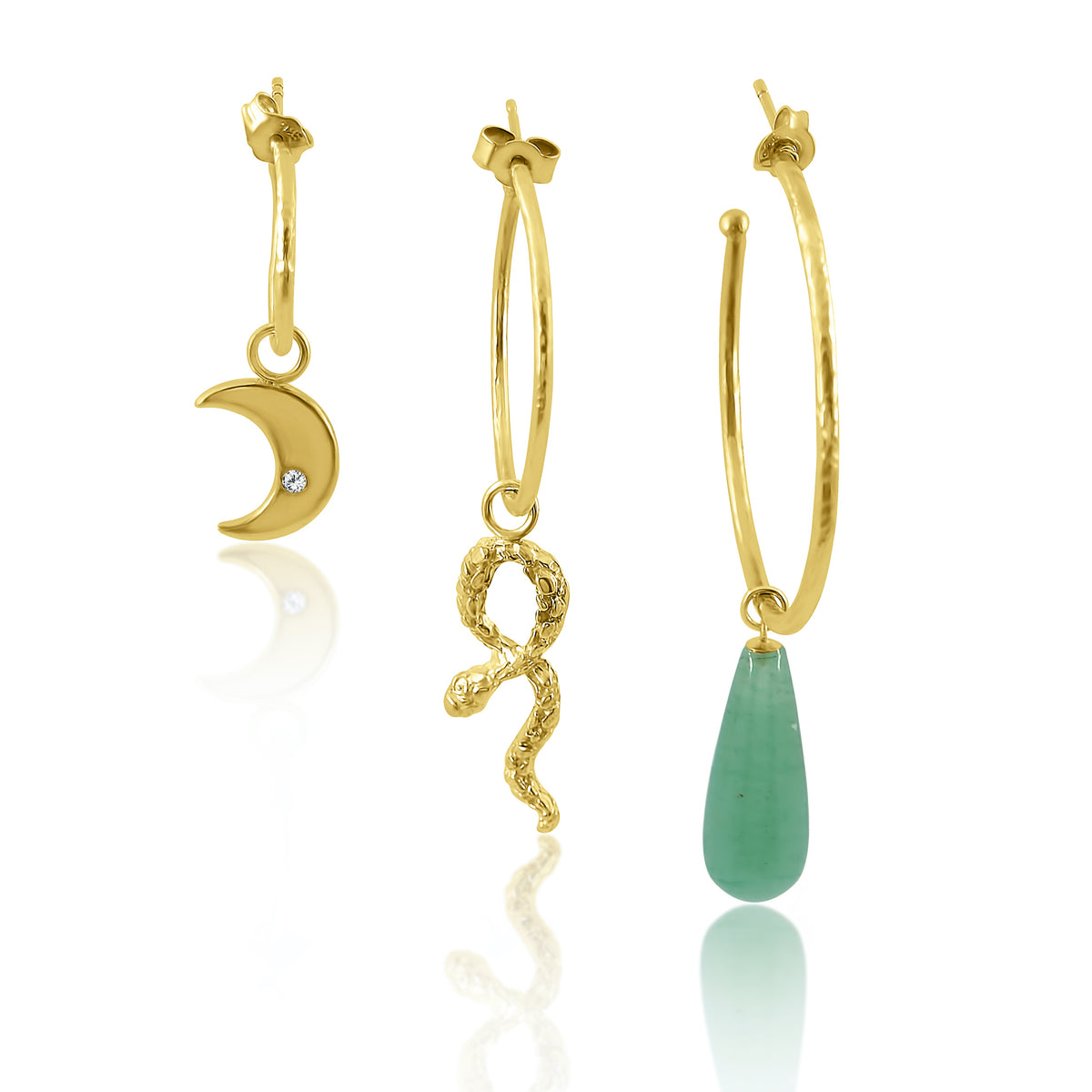 gold textured hoops with skull, moon and gemstone charms