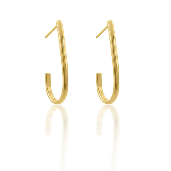 gold vermeil elongated hoops
