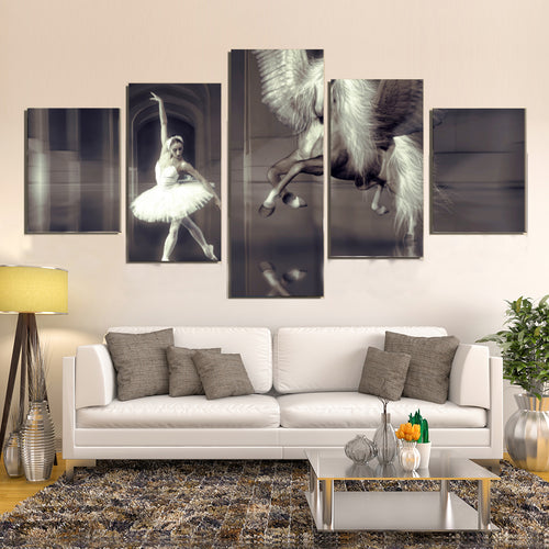 Dance Ballet Elegant Girl Dancer Horse Wing Hall Canvas Prints Home Decor Wall Art
