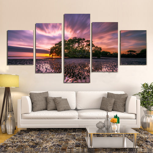 Beach Landscape Low Tide Reflection Waves Ripples Canvas Prints Wall Art Home Decor