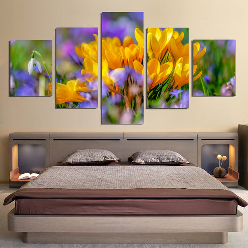 Crocus Flower Blossom Yellow Bloom Flora Canvas Prints Wall Art Home Decor
