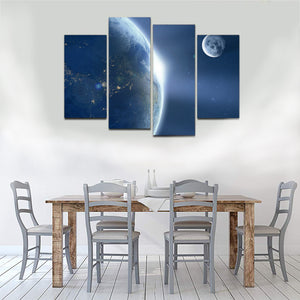 Earth Moon Ache Sunrise Space Universe Astronomy Canvas Prints Wall Art Home Decor - Canvas Print Sale