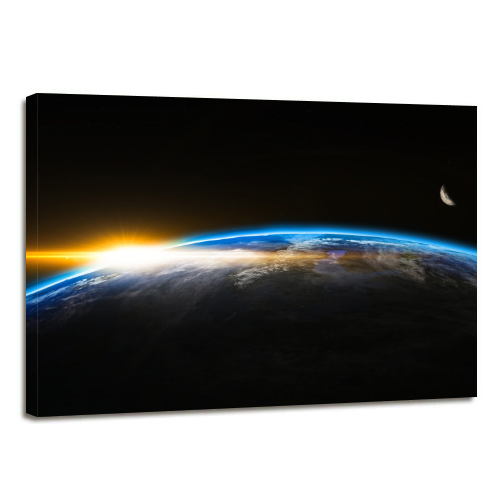 Outer Space Globe World Earth Sunrise Canvas Prints Wall Art Home Decor - Canvas Print Sale