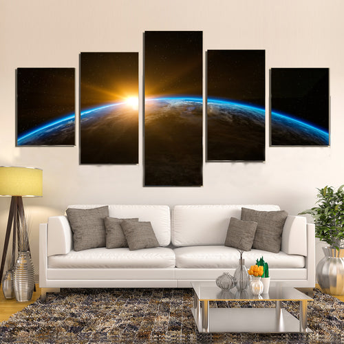 Space Earth Sunrise Canvas Prints Home Decor Wall Art - Canvas Print Sale