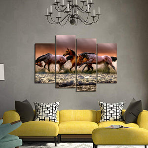 Fauna Horses Galloping Canvas Prints Wall Art Home Decor - Canvas Print Sale