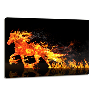 Fire Horse Running Canvas Prints Home Decor Wall Art - Canvas Print Sale
