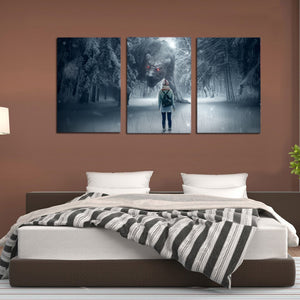 Snow Winter Fantasy Forest Monster Girl Canvas Prints Home Decor Wall Art - Canvas Print Sale