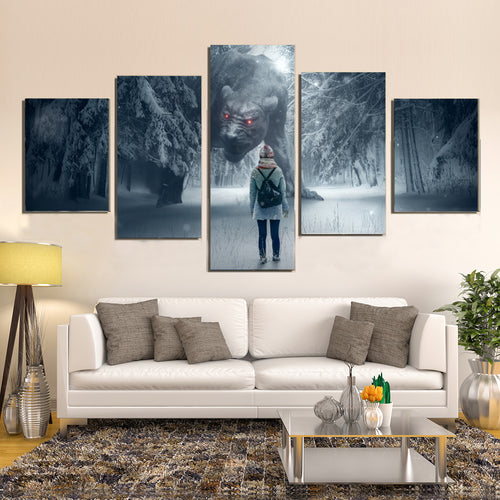 Snow Winter Fantasy Forest Monster Girl Canvas Prints Home Decor Wall Art