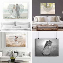Load image into Gallery viewer, Custom Lyrics Vows On Heart Canvas Landscape - Canvas Print Sale