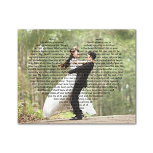 Custom Lyrics Vows On Heart Canvas Landscape - Canvas Print Sale